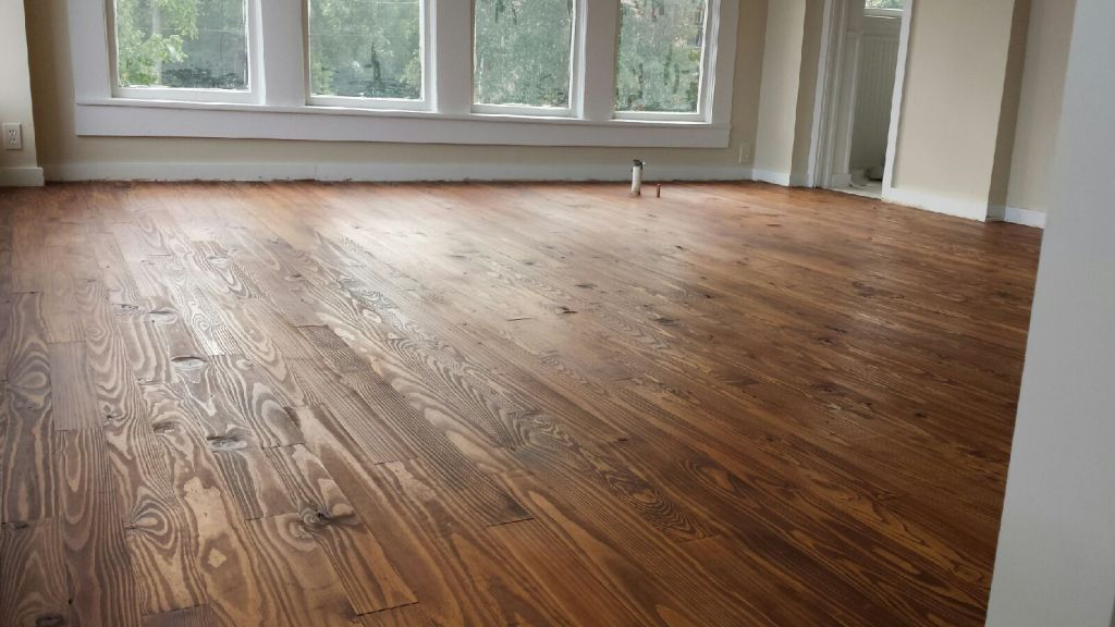southern yellow pine floors in the bedroom area
